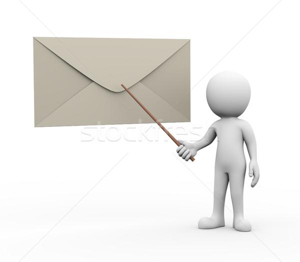 Stockfoto: 3d · man · presenteren · uitleggen · e-mail · 3D