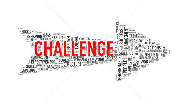 Arrow shape wordtag wordcloud challenge Stock photo © nasirkhan