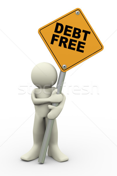 3d man with debt free sign board Stock photo © nasirkhan