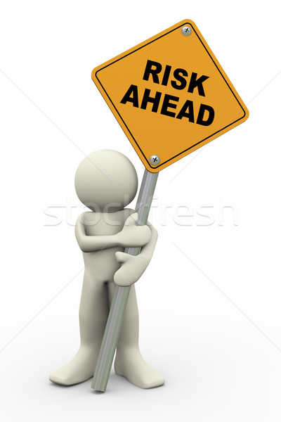 3d man with risk ahead sign board Stock photo © nasirkhan