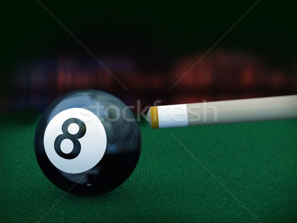3D черный восемь бассейна мяча 3d иллюстрации Сток-фото © nasirkhan