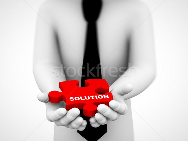 Photo stock: 3D · solution · puzzle · pièce · illustration