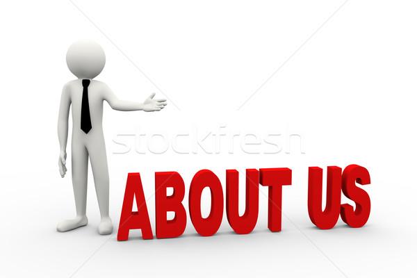 Stockfoto: 3D · zakenman · woord · over · ons