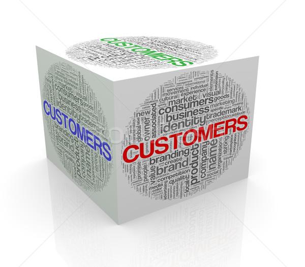 Stock fotó: 3D · kocka · szó · címkék · szófelhő · vásárlók