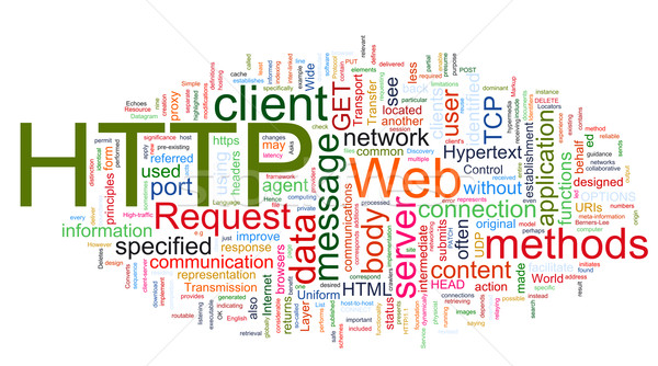 Wordcloud of HTTP - HyperText Transfer Protocol Stock photo © nasirkhan