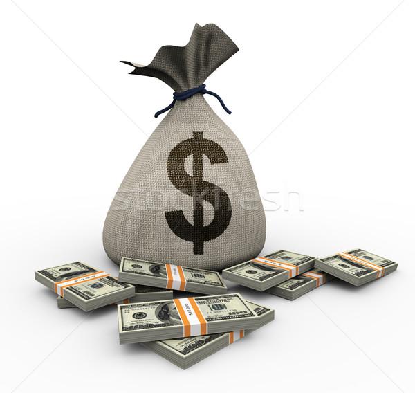 Stockfoto: 3D · geld · zak · dollar · 3d · render · business