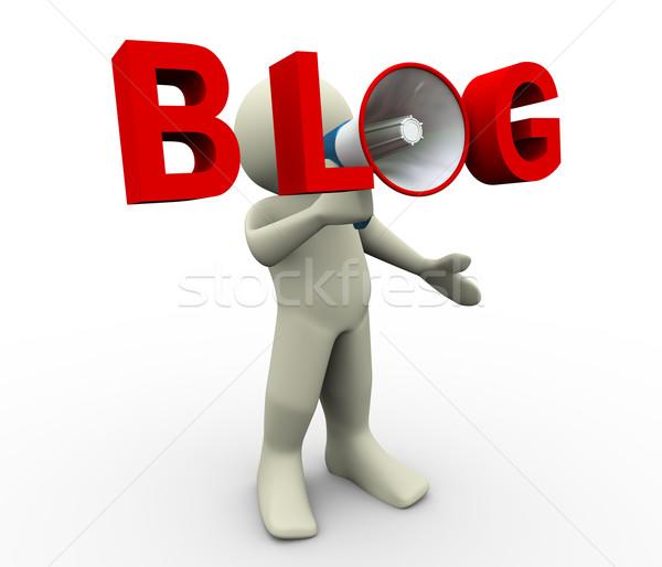 Zdjęcia stock: Mężczyzna · 3d · blog · megafon · 3d · człowiek · 3d · ilustracji