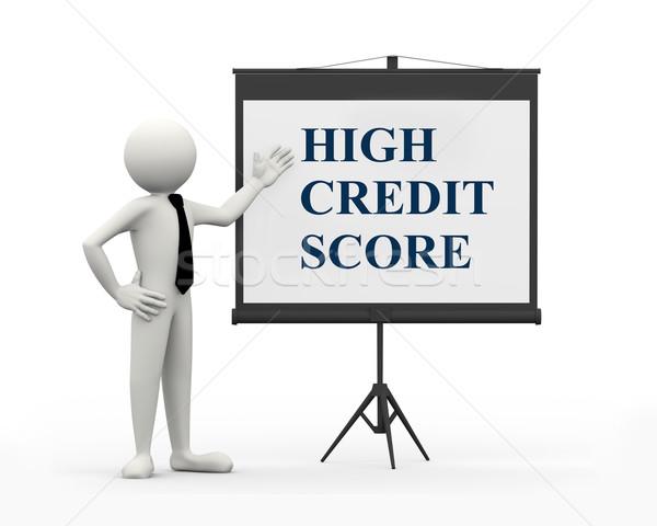Stock photo: 3d businessman -  high credit score