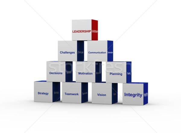 3d pyramid of leadership concept Stock photo © nasirkhan