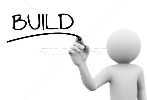 3d человек Дать построить прозрачный экране 3D Сток-фото © nasirkhan