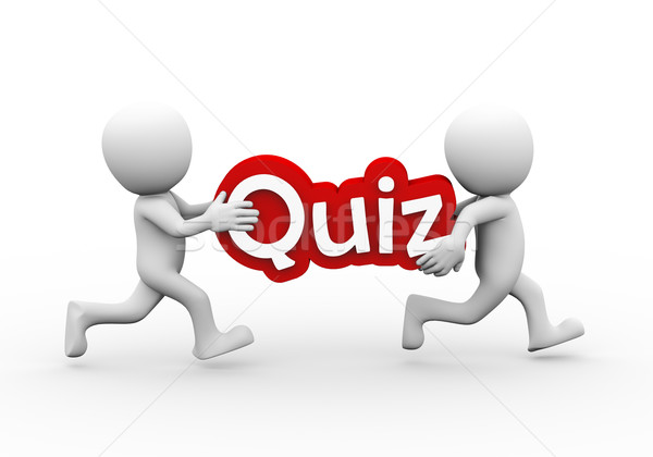 3d people carrying text word quiz Stock photo © nasirkhan