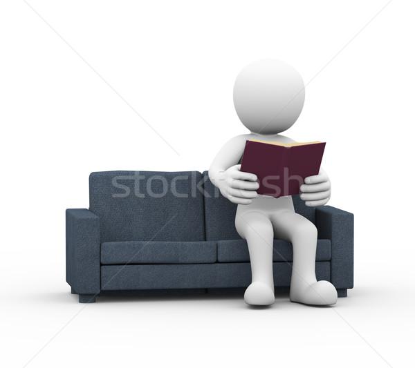 Hombre 3d lectura libro sofá 3D Foto stock © nasirkhan