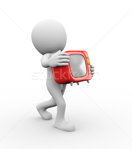 3d man holding cartoon style tv Stock photo © nasirkhan