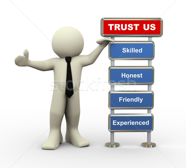 Stock photo: 3d businessman trust us