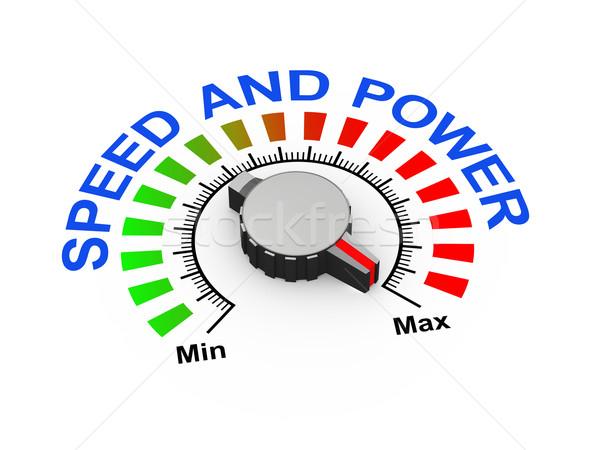 3D Knopf Geschwindigkeit Macht 3D-Darstellung Set Stock foto © nasirkhan