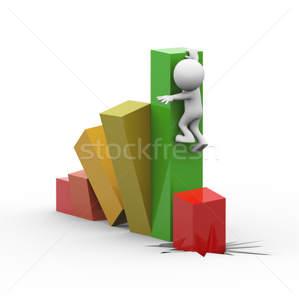 3次元の男 下がり ビジネス 成長 バー 3D ストックフォト © nasirkhan