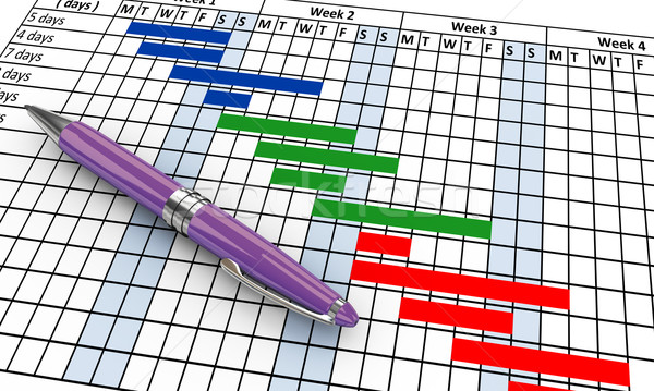 3d gantt chart and pen Stock photo © nasirkhan