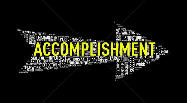 Arrow shape wordtag wordcloud accomplishment Stock photo © nasirkhan