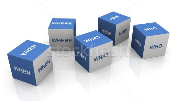 3d questions words cubes Stock photo © nasirkhan