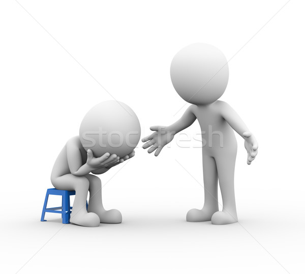 3d man supporting sympathy for sad friend Stock photo © nasirkhan