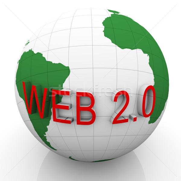 3D monde web 20 rendu 3d texte Photo stock © nasirkhan