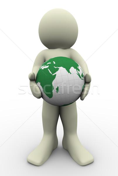 Сток-фото: 3d · человек · мира · стороны · 3d · иллюстрации · человека