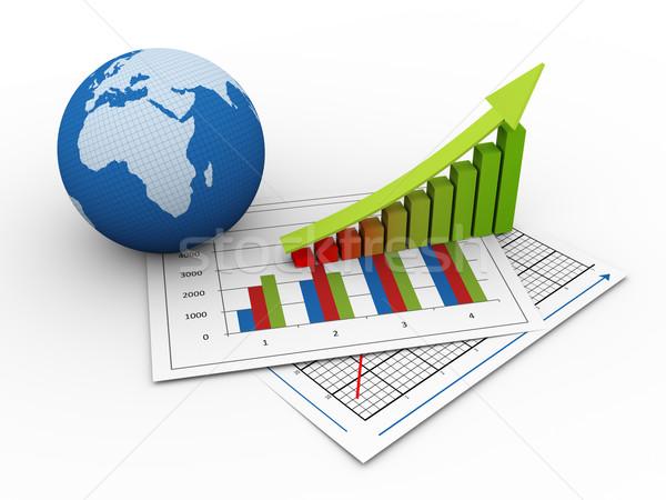 Foto stock: 3D · global · financeiro · crescimento · 3d · render · globo