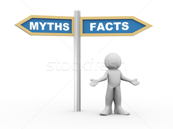 3d man and facts vs myths road sign Stock photo © nasirkhan