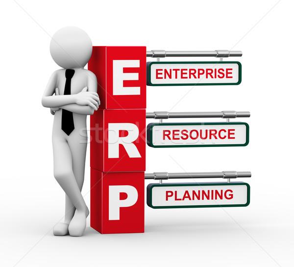 3d businessman with erp signpost illustration Stock photo © nasirkhan