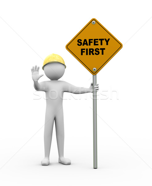 Stock photo: 3d man with safety first road sign