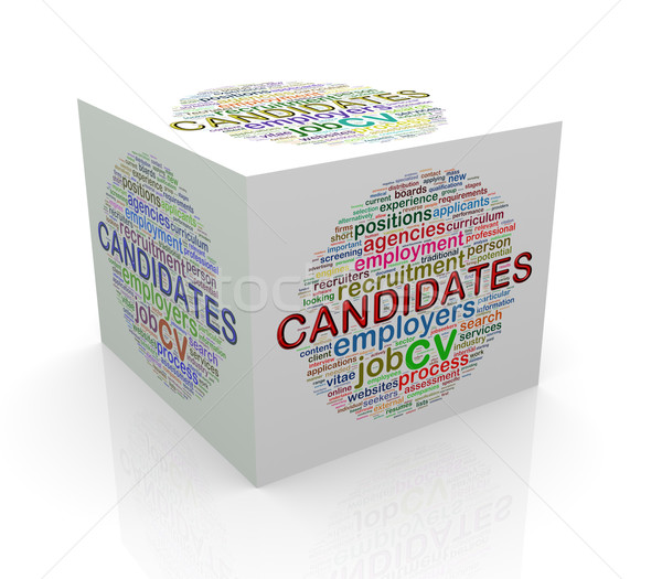 3d cube word tags wordcloud of candidates Stock photo © nasirkhan