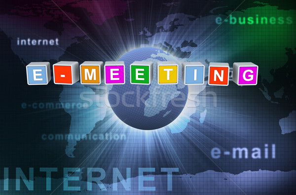3d buzzword text e-meeting Stock photo © nasirkhan