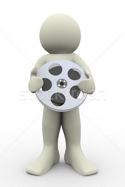 Foto stock: O · homem · 3d · 3d · render · homem · rolo · de · filme
