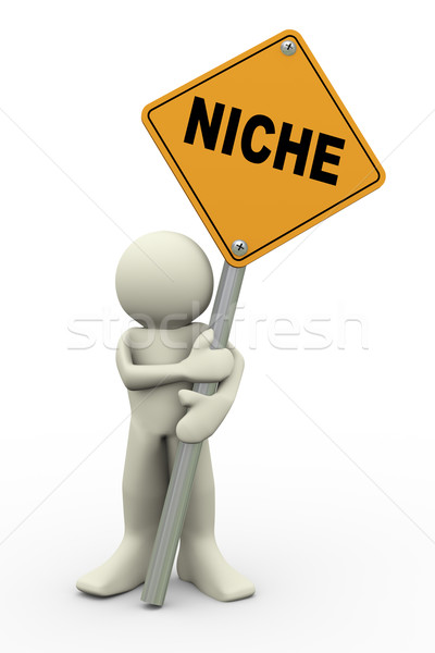 3d man with niche sign board Stock photo © nasirkhan