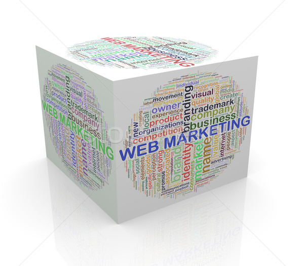 3d cube word tags wordcloud of web marketing Stock photo © nasirkhan