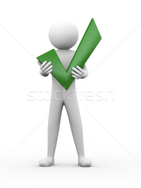 3d man holding check mark illustration Stock photo © nasirkhan