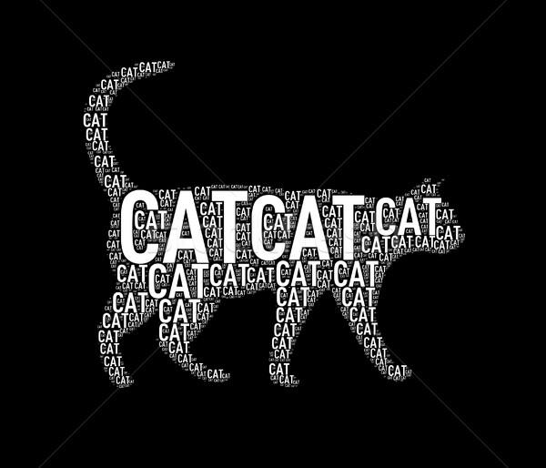 Illustration of cat shape wordtags wordcloud Stock photo © nasirkhan