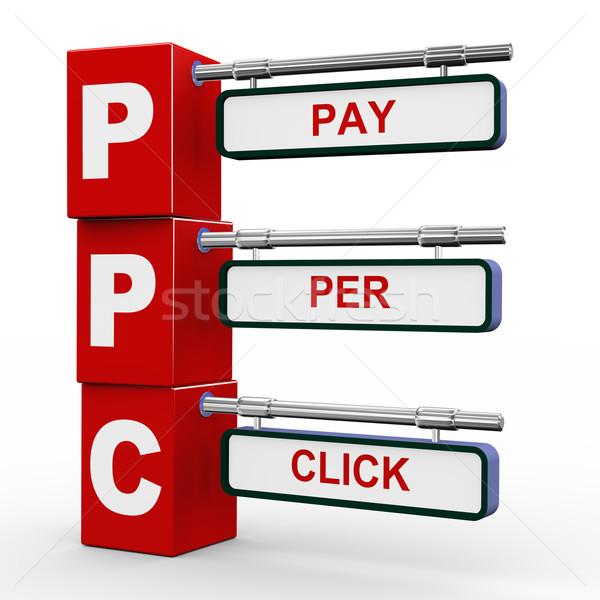 3d modern signboard of ppc Stock photo © nasirkhan