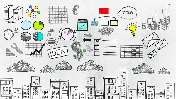 Сток-фото: аннотация · красочный · бизнеса · рисунок · иллюстрация · эскиз