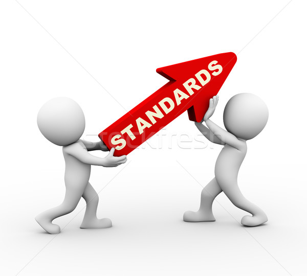 3d people rising standards red arrow Stock photo © nasirkhan