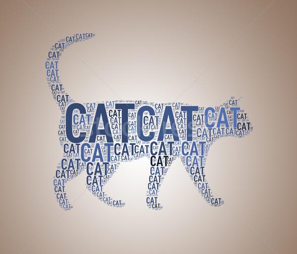Illustration of cat shape wordcloud Stock photo © nasirkhan