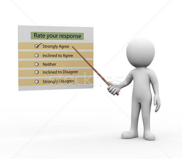 3d man presenting explaining rate your response Stock photo © nasirkhan