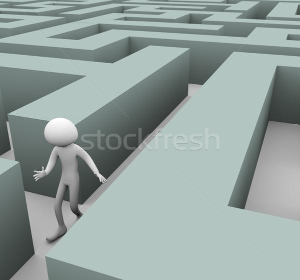 3d man verloren doolhof bevinding pad persoon Stockfoto © nasirkhan