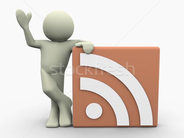 3d man and RSS icon Stock photo © nasirkhan
