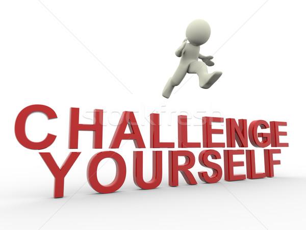Kihívás magad 3d render férfi ugrik szó Stock fotó © nasirkhan