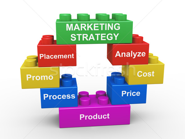 3d marketing strategy building blocks Stock photo © nasirkhan