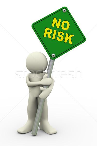 Mężczyzna 3d nie ryzyko podpisania pokładzie 3d ilustracji Zdjęcia stock © nasirkhan
