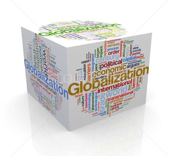 3D cubo palabra etiquetas globalización Foto stock © nasirkhan