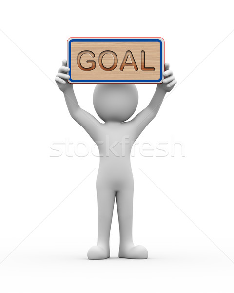 3d man holding engraved banner word text goal Stock photo © nasirkhan