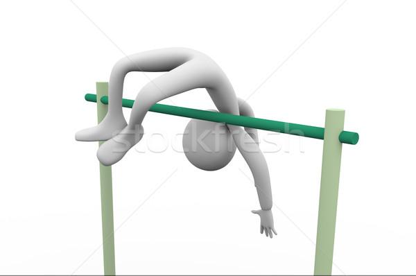 高い 3次元の男 高跳び 白 男 スポーツ ストックフォト © nasirkhan